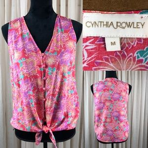 Cynthia Rowley Floral tie blouse